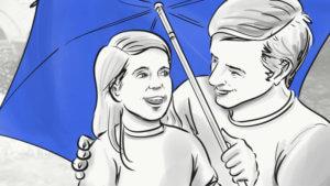 Vater-Tochter-unter dem blauen Regenschirm