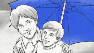 Oma+Enkel-unter dem blauen Regenschirm