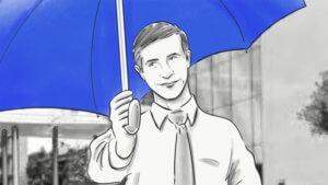 VKB-Mitarbeiter-unter dem blauen Regenschirm